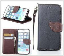 Black PU Leather Skin Brown Leaf Flip Stand Wallet Case TPU Cover For Cell Phone
