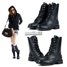 Women Combat Military Army PUNK Knight Lace-up Martin Short Boots Shoes NEW EA9
