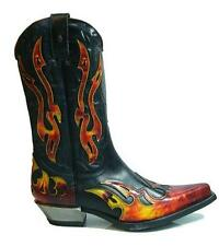 NEWROCK New Rock West 7921 S2 Cowboy Leather Black Red Flame Zip Boots BIKER
