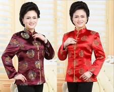 Red burgundy Chinese Women's silk jacket /coat Cheongsam Sz 8 10 12 14 16