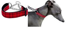 Martingale Dog Collar Red Check  M  L Greyhound Whippet Training Choke Chain