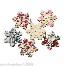 Wholesale HOT! Wooden Buttons Mixed Color Snowflake Shape Applique 2-hole Sewing