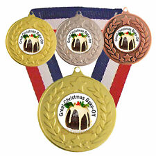 Great Christmas Bake Off Medals & Ribbons, F/Engraving, Cooking Medals Awards