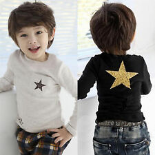 Kids Boys T-shirt Long Sleeve Cotton Round Neck Pullover Blouse Tops Tee Shirts