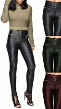 Womens Sexy PU High Pants Fit Shiny Jeans Slim Stretch Look Wet Waisted Trousers