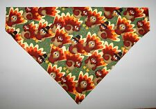 Thanksgiving Turkeys Dog Bandana Scarf -Slide over Collar- Size Small to XLarge