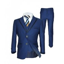 Boys Navy Blue Piping Wedding Suits Italian Pageboy Formal Outfit Boy Prom Suit