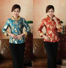 Red Blue Chinese Women's silk embroidery jacket /coat Cheongsam Sz:8 10 12 14 16