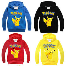 Toddler Kids Boys Pikachu Hoody Hooded Hoodie Sweatshirt Coat Casual Jumper Tops