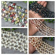 SP0257q  7-8MM natural Top-drilled potato Freshwater pearl loose Beads 15''