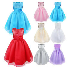Flower Girl Princess Sequins Party Dress Gown Formal Wedding Bridesmaid Dresses