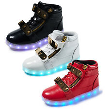 Kids High Top LED Light Lace Up Unisex Sportswear Sneaker Luminous Shoes Casual