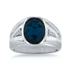 10K WHITE GOLD 4 1/2 CT OVAL CREATED SAPPHIRE AND DIAMOND MEN'S RING