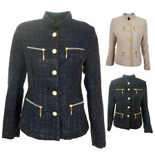WOMENS TWEED BLAZER LADIES FITTED COAT BLACK ,BEIGE, NAVY SIZE 8-12