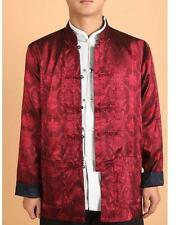 Traditional Double face Chinese Men's Silk Jacket/coat Blue /burgundy SZ M -3XL