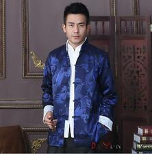 Blue Traditional Chinese Men's silk Kung Fu Party Jacket/Coat Size: M - 3XL