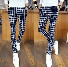 New Mens Trousers Casual Slim fit printing plaid dress pencil Pants fashion Hot
