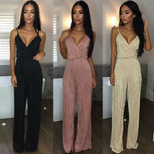 Sexy Women Deep V Neck Sleeveless Long Bandage Jumpsuits Rompers Slim Stretch B