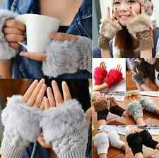 Women's Warm Knitted Fingerless Winter Gloves Unisex Soft Warm Mittens 1 PAIR