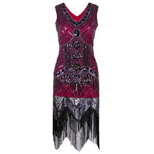 1920s Women's Tassel Flapper Dress Deco Great Gatsby Vintage Sequin Party Gown