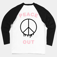 'PEACE OUT' Contrast Sleeve Baseball T-shirt long sleeved top sign black jersey