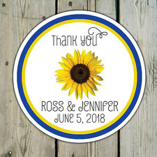 Sunflower - Round Custom Favor Stickers / Labels - Wedding / Shower Personalized