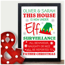 Personalised ELF ON THE SHELF Under Elf Surveillance Certificate Print Xmas Fun