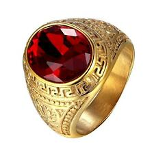 Red Dome Stone 18k Gold Tone Stainless Steel Mens Ring Greek Medusa Style New