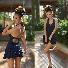 Sexy Deep-V Layered Ruffle Halter Ruched One Piece Swim Dress Swimsuit Suit New