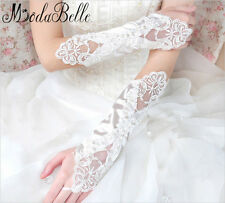 New Sequins Hand Glove Long Lace Fingerless Wedding Gloves White Bridal Gloves