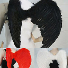 New Fashion Feather Wings Dark Fallen Angel Gothic Raven Halloween Model Costume