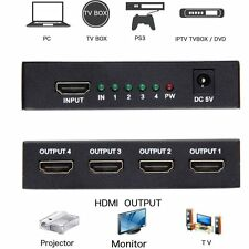 Full HD HDMI Splitter Adapter 1X4 4 Port Hub Amplifier Repeater 1080P 1 In 4 out