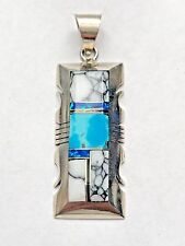 Sterling Silver Navajo Inlay Stone Turquoise Spiny Oyster Opal Rectangle Pendant