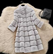Women's Warm Wool Long Real Rex Rabbit Fur Outwear Coat Jacket Trench Parka New