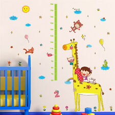 Child Height Decor Kids Room Growth Chart Measure Wall Sticker Animal Decal