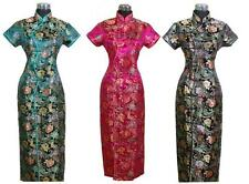 Elegant Chinese Women's Silk Satin Long Dress Cheong-sam Party Skirt SZ S-3XL