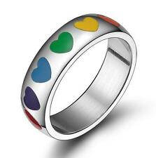 Fashion His Her stainless steel rainbow ring love heart anniversary band Sz 6-12