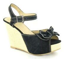 High Wedge Mule Bow Trim Ankle Strap
