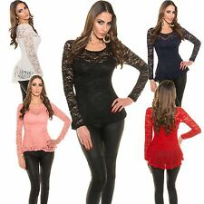 Ladies Long Sleeve Shirt Peplum Style Lace S 34 36 sexy Tunic Blouse Top new