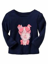 Baby Gap Toddler girls Valentine's Day Love embellished graphic LS Tee Blue New