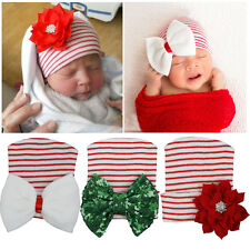 2016 Newborn Baby Infant Girl Toddler Bowknot Diomand Christmas Cap Beanie Hat