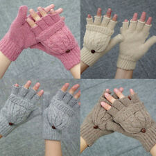 Women Thicken Warm Wool Half Finger Gloves Comfortable Knitted Mitten Gloves