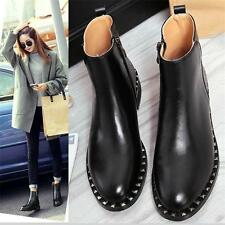 Chic Womens Flats Round Toe Genuine Leather Ankle Boots Oxfords Punk Shoes YT