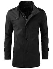 Mens Long Sleeve Button Closure Autumn Fashion Trench Coat