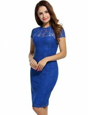 Lace Backless Short Sleeve O Neck Bodycon Pencil Dress