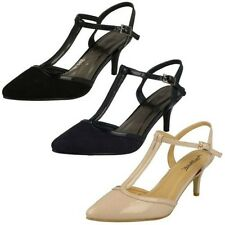 Womens Anne Michelle Mid Heel T Bar Court Shoe