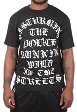 Famous Stars & Straps Mens Black Disturbed Police Streets Short-Sleeve T-Shirt