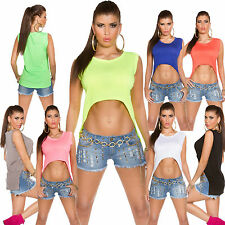 Ladies Crop Cropped Top Shirt T-Shirt Mullet 34 36 38 Party Club Leisure Fashion