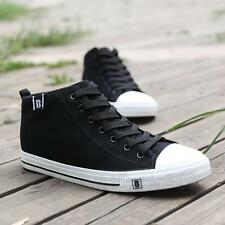 New Chic Mens lace up high top casual denim canvas flat casual sneaker shoes Hot