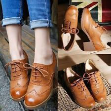 Oxford Women's wing tip  Lace-up ladies Brogue Med heels Casual dress Shoes New